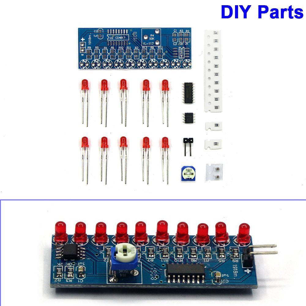 Módulo electrónico inteligente NE555 + CD4017 lámpara Kit electrónico Indicador de flujo de luz luces de flujo de agua piezas DIY