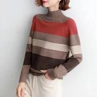 2021 autumn winter knitted sweater women korean striped long sleeve pullover female half high collar jumper solid knitwear top