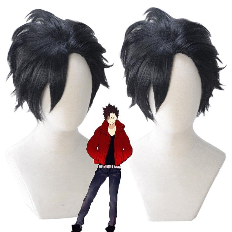 ¡Tee! 30cm Tetsurou Kuroo Tetsurou corto negro estilizado resistente al calor pelo sintético disfraz pelucas + TAPA DE peluca