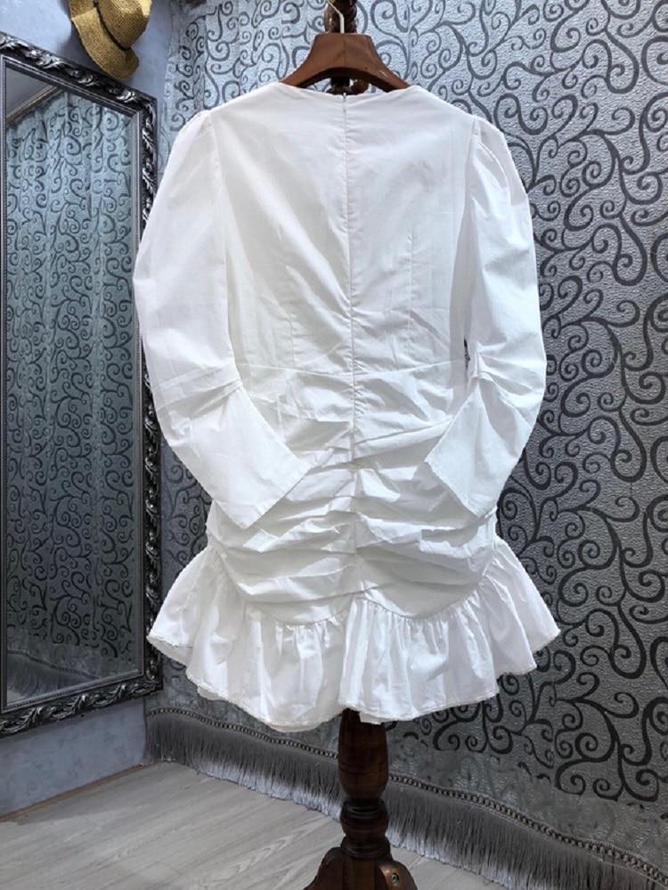 Novoa-vestido blanco plisado de manga larga para primavera y verano, traje Sexy...