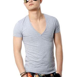 Zecmos Deep V Neck Sexy Men T-Shirt Vintage Short Sleeve Solid Color Muscle Fit T Shirt Men Top Tees Fashion