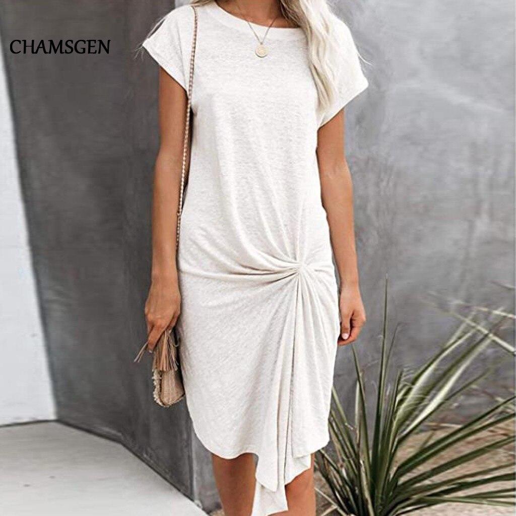 CHAMSGEND 2020 nuevo de verano de las mujeres Vestidos casuales de Color puro de moda vestido de cuello recto vaporoso sólido Vestidos de blusa F423