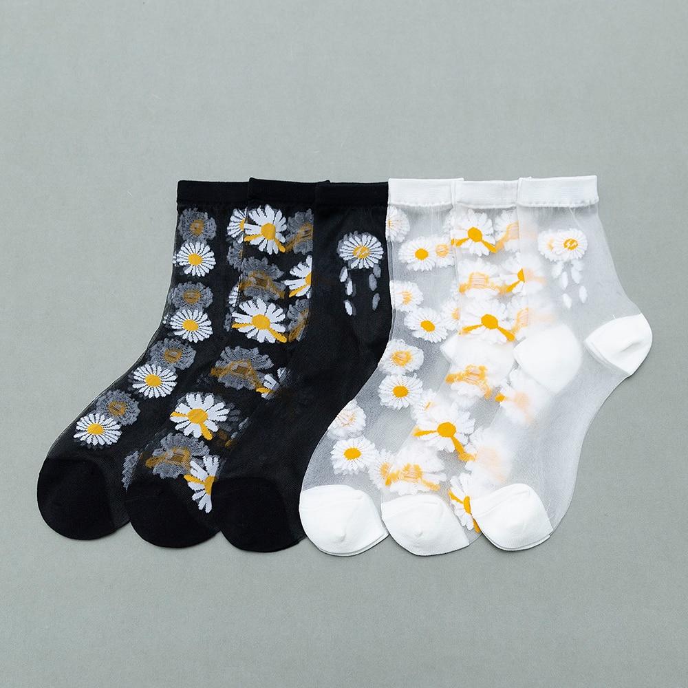 Карта шелковые женские носки весной и летом новый нейлон ультра тонкие носки без пятки Модные Симпатичные Дейзи анти крюк шелковые носки в наличии