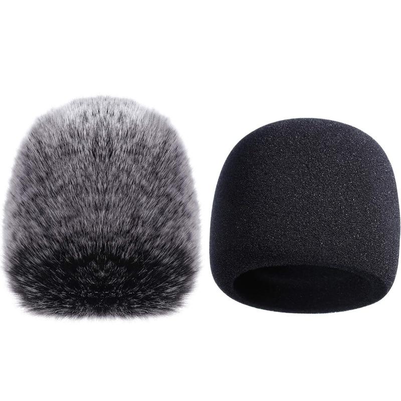 Cubierta de micrófono JABS, micrófono de esponja, parabrisas para Yeti azul, micrófono condensador Yeti Pro (esponja y peludo parabrisas, paquete de 2)