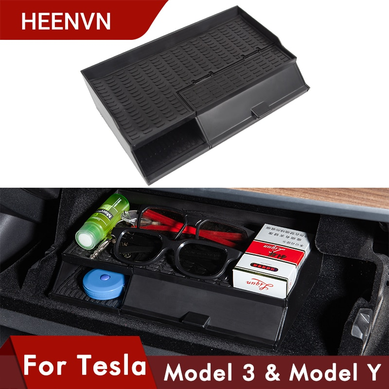 for tesla model 3 accessories car central armrest storage box auto container wallet phone glasses organizer case stowing tidying Heenvn 2021 New Model3 Car Central Armrest Box For Tesla Model 3 S X Y Accessories Stowing Tidying Glove Box Double Storey 2020