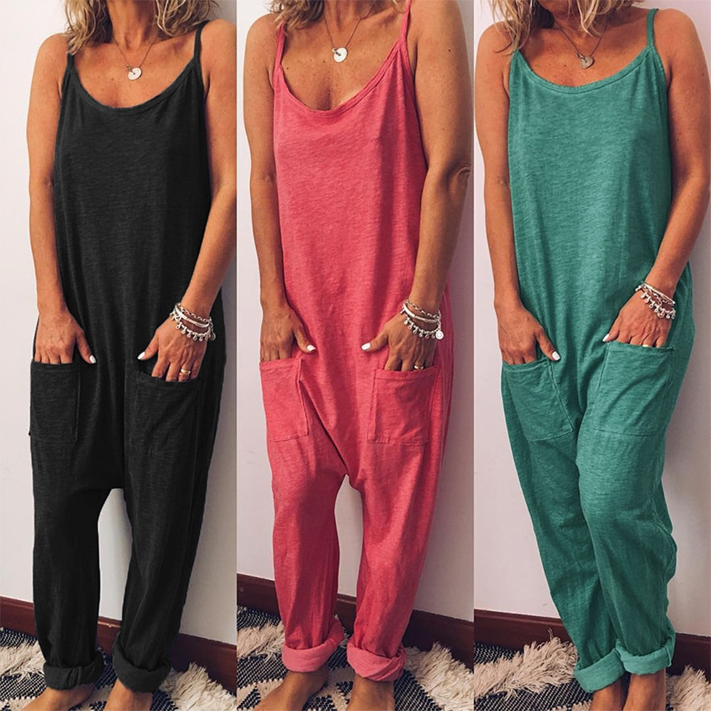 2020 New women jumpsuits cargo pants loose Long wide leg playsuits pants thin female bodysuits High