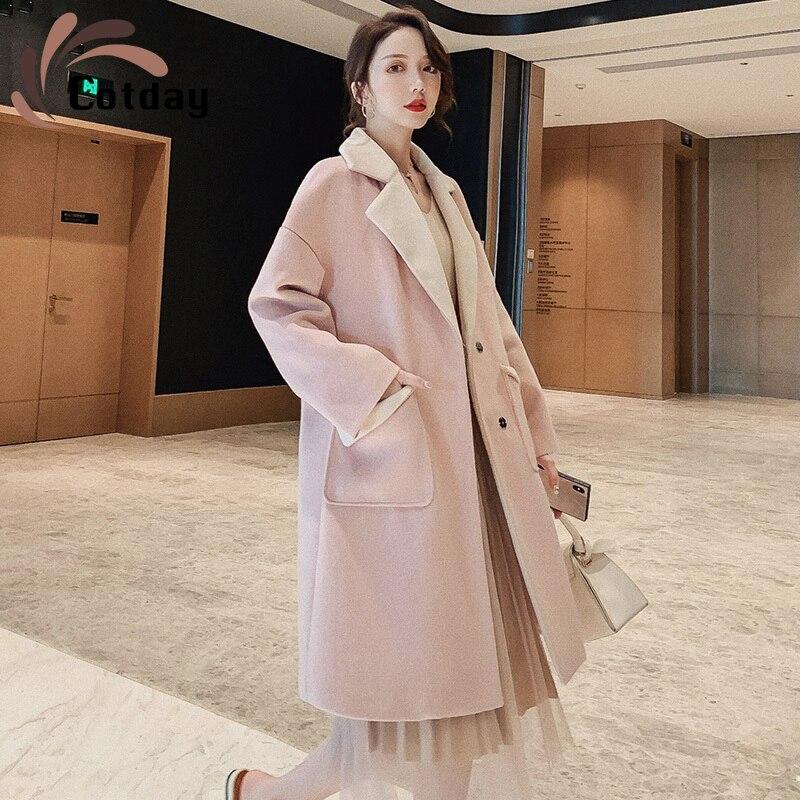 Cotday-معطف طويل من الصوف الوردي ، ياقة مطوية ، ملابس أنيقة ، جودة عالية ، على الطراز الكوري ، شتاء ، جديد ، 2020