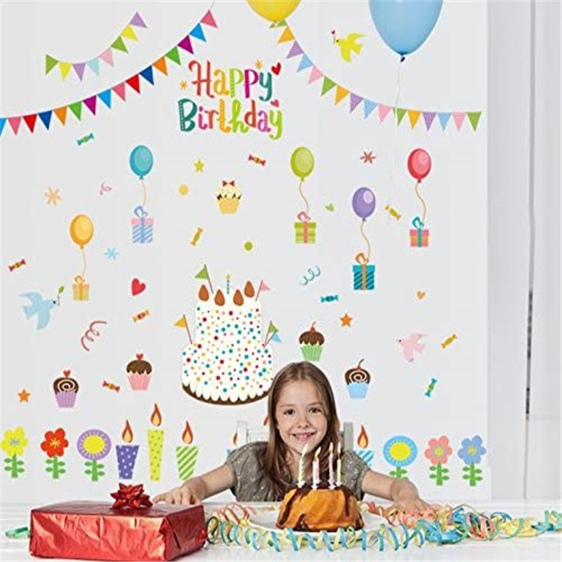 Happy Birthday Wall Decals Removable Wall Decor Painting Supplies Wall Treatments Stickers for Girls Kids Living Room Bedroom