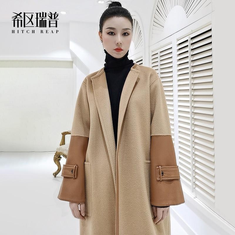 الراقية جلد الغنم كم الوجهين معطف من قماش الكشمير المرأة 2021 الخريف والشتاء تصميم جديد الجمل