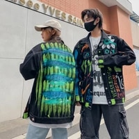 oversized denim jacket women 2021 spring jacket personality graffiti street wear jeans coat loose outwear for couples