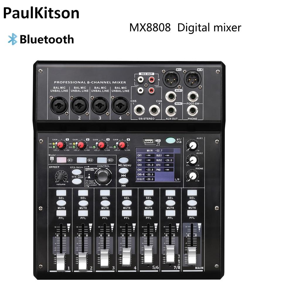 جهاز مزج صوت رقمي لاسلكي 8 قنوات ، وحدة خلط صوت محمولة ، بلوتوث ، واجهة USB ، MP3 ، مدخل كمبيوتر 48 فولت ، طاقة فانتوم