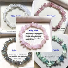 Lucky Reiki Stone Chip Beads Bracelet Natural Crystal Pink Bracelets for Women Men Jewelry Christmas Gift