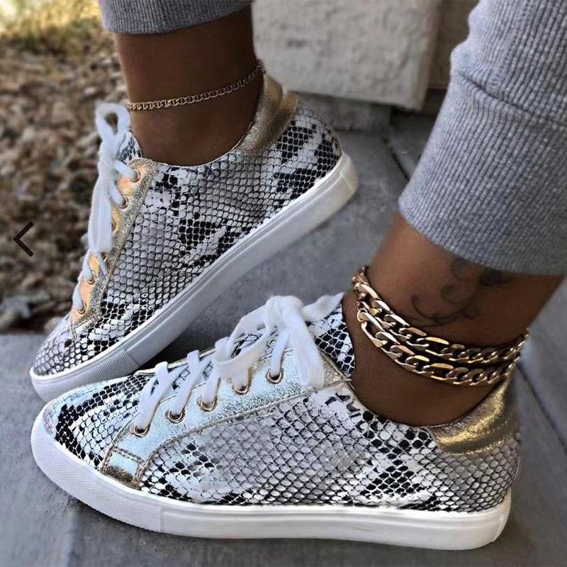 נשים נחש הדפסת נעלי עור מפוצל גופר נעלי תחרה עד נקבה סניקרס אופנה פלטפורמת אישה נעלי הליכה הנעלה