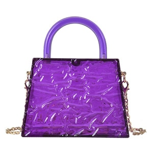 High quality Trapezoidal Acrylic Transparent Handbag for Women Chain Shoulder Bag Crossbody Bag Female Clutch Bag Evening Bag
