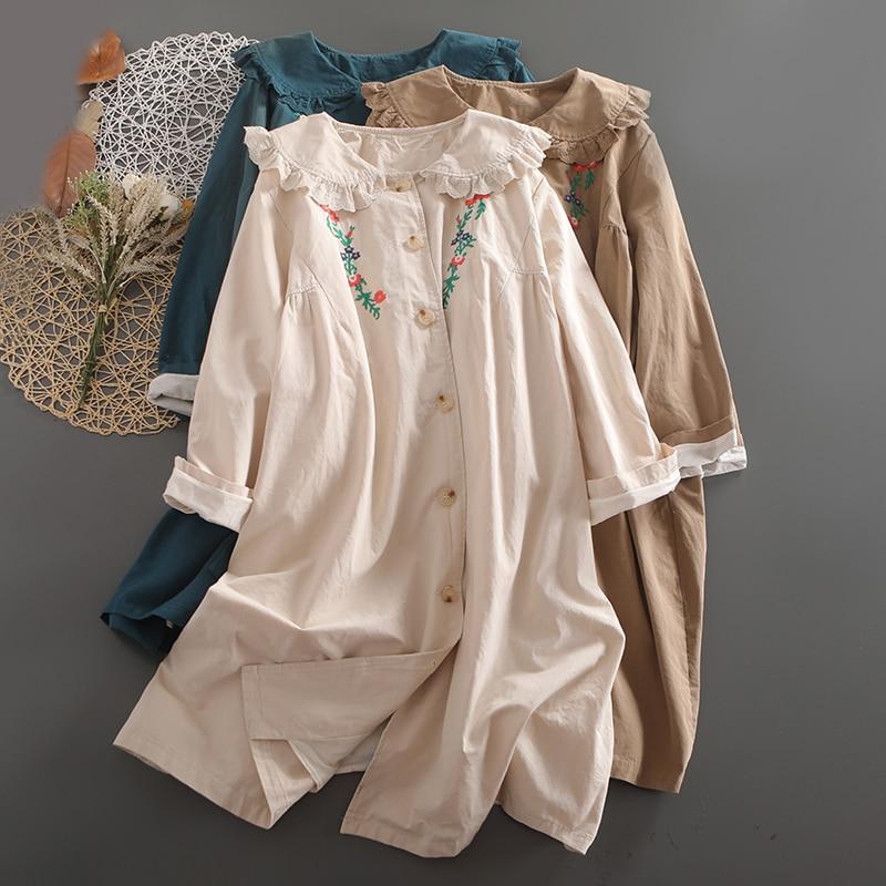 Mori пальто для женщин 2021 осень длинный рукав вышивка однобортная свободная повседневная одежда