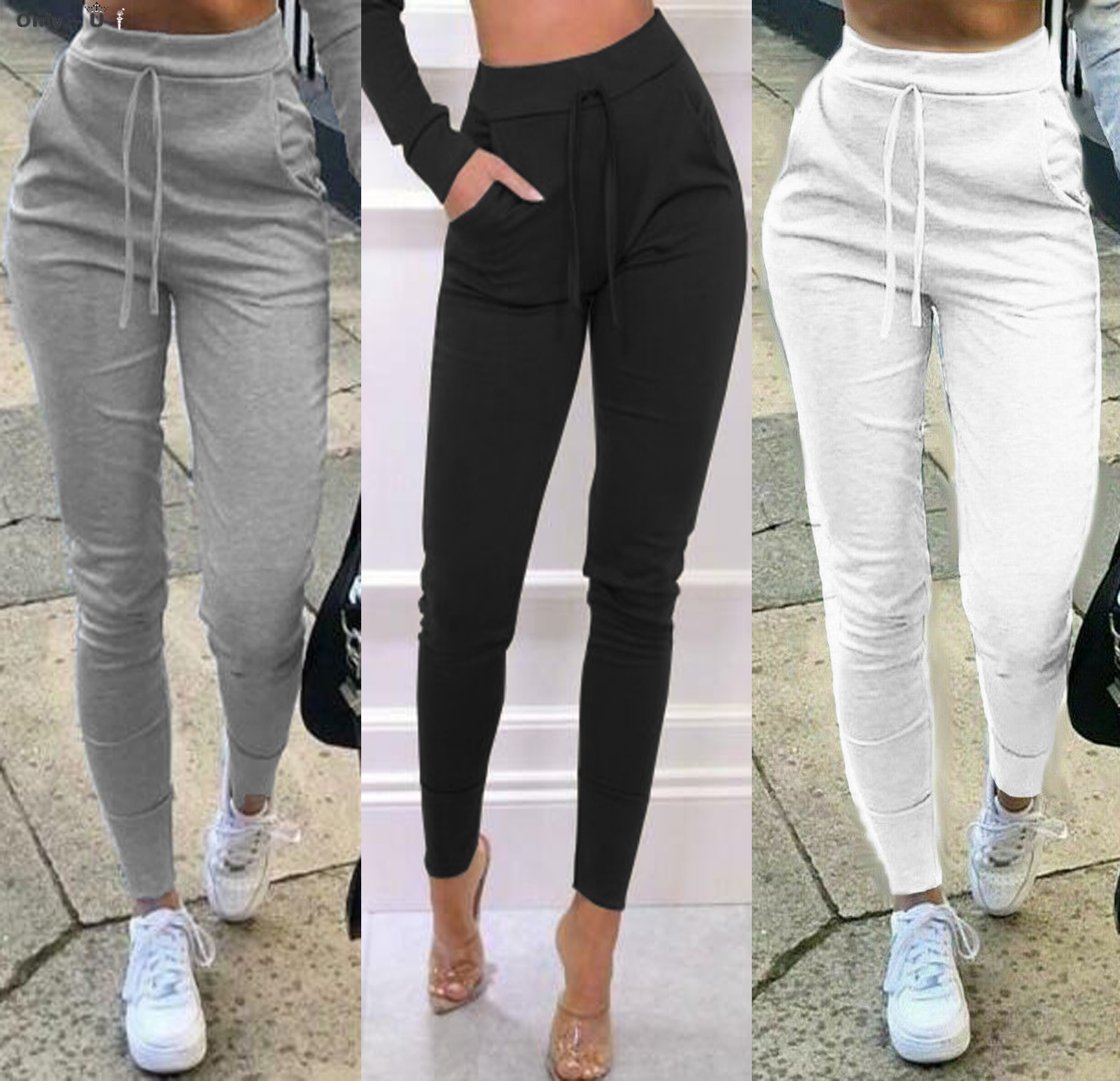 2020 New Arrivals Women's Pants Jogger Casual Solid Color Sport Pants Elastic Waist Ankle Cuff Tight Sweatpants with Pocket