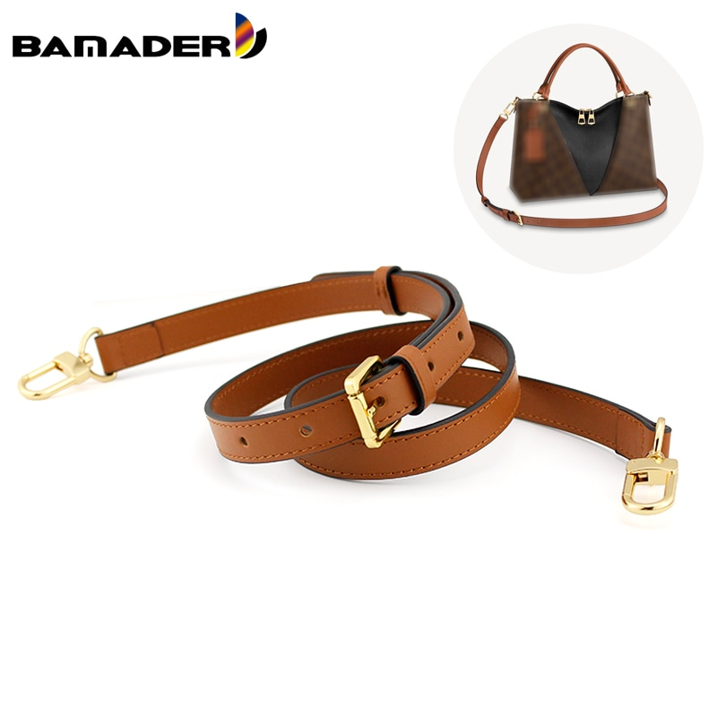BAMADER Adjustable Bag Strap Genuine Leather Brown Crossbody Shoulder Strap High Quality luxury Women Girl Replacement Bag Strap
