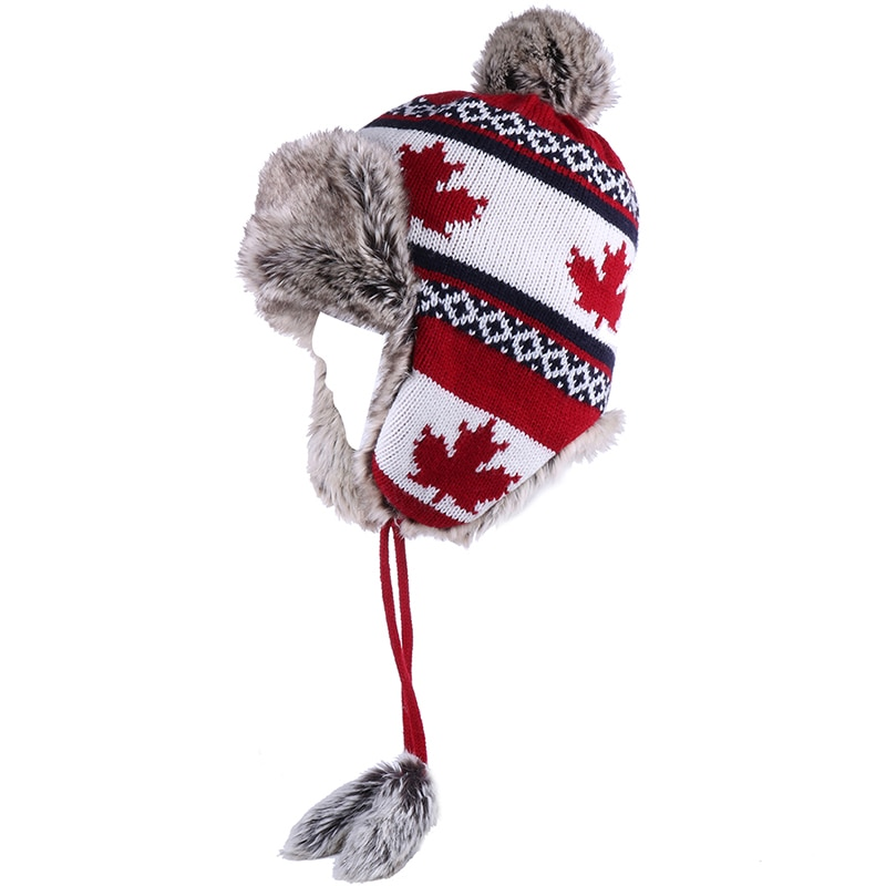 Bombardero sombrero de las mujeres de invierno de punto de lana gorros para nieve Pom de hoja de arce de trampero aviador tapa de piel de zorro orejeras de lana ruso Ushanka