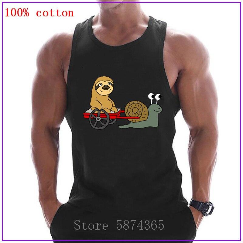 Funky Funny Sloth en Red Wagon tirado por Snail Ropa Camisetas para hombres camiseta sin mangas musculosa larguero de culturismo Chaleco de Fitness
