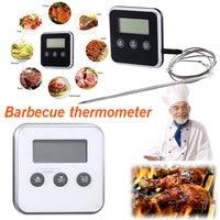 Профессиональный цифровой термометр с таймером, функциями мгновенное считывание, прибор для измерения температуры пищи, барбекю, мяса, дух...