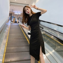 Korean Style Casual French Retro Dress New Cotton Slim Fit Irregular Slit Elegant Little Black Dress