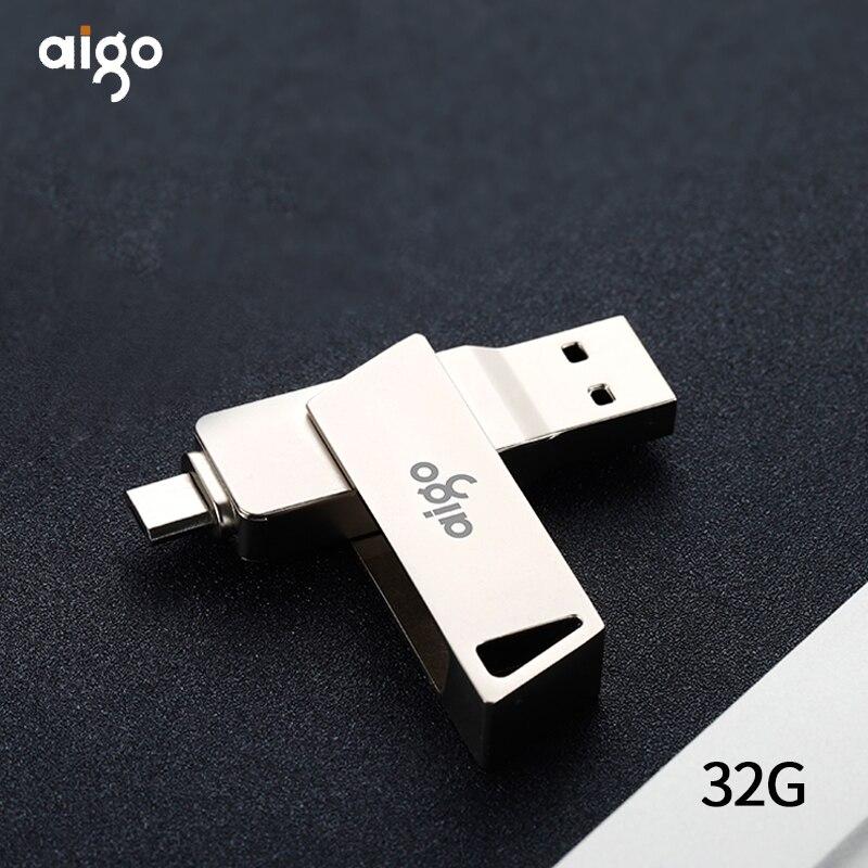 Aigo usb 3.0 OTG memoria usb 360° rotatable pen drive high speed memoria usb type C pendrive for Android metal 32GB flash usb