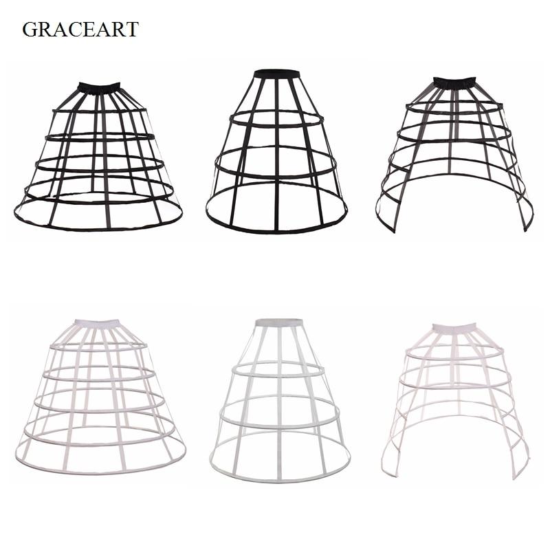 Woman Crinoline Cage Underskirt White Black Petticoats Skirt