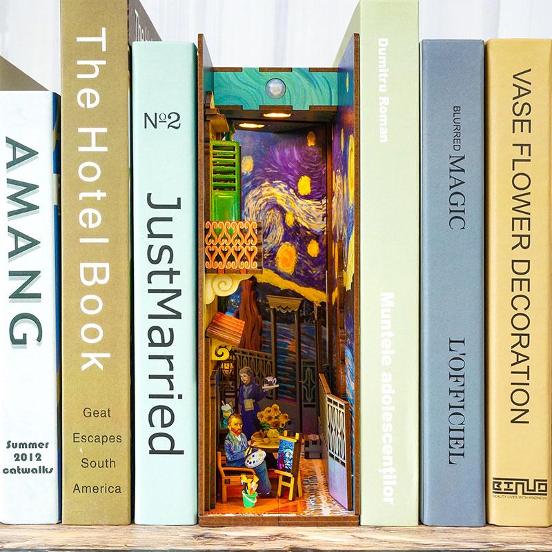 كتاب Nook لتقوم بها بنفسك خشبية فان جوخ العالم رف الكتب مجموعات أثاث مصغر خزانة إدراج نموذج Roombox بناء اللعب الهدايا