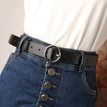 Fashion PU Leather Waist Belts Casual Round Buckle Belt Women High Quality Ladies Jeans Strap Belt H
