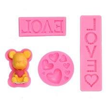 Saint valentin amour ours lettre amour de qualité alimentaire Silicone moule bricolage gâteau décoration outil époxy résine moule petit ours tient lamour