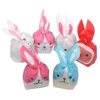 25pcslot cute rabbit ear bags cookie plastic bagscandy gift bags for biscuits snack baking package and event party supplies