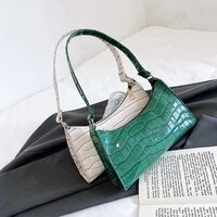 retro alligator skin pattern female small handbags short strap shoulder bags phone purse baguette bag high quality pu leather