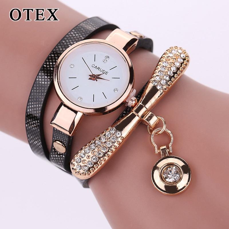 Reloj de cuarzo para mujer con diamante listón redondo reloj pulsera de moda blanco rojo cuero reloj redondo regalo para esposa reloj de mujer