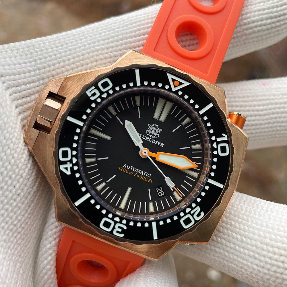 ساعة يد فاخرة كبيرة SD1969S من steelالغوص NH35 حركة أوتوماتيكية ثنائية الاتجاه حافة مضيئة تصفح 1200 متر مقاوم للماء ساعة غوص للرجال