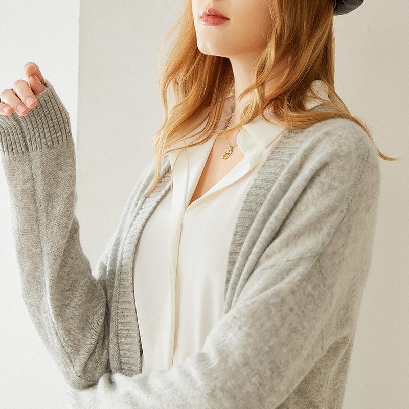 Tailor Shop Custom Made High-end V-neck Cashmere Cardigan Women Loose Solid Color Sweater Knit Sweater enlarge