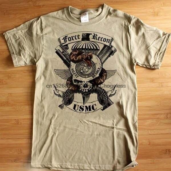 USMC Force Recon T-shirt 0321 Grim Reaper UNS Flagge Teufel Hund Baumwolle T Semper Fi