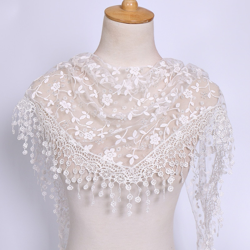 New Fringes Shawl Female Triangle Scarf For Woman Tassel Pendant Veils Hollow Out Solid Color Floral Embroidered Lace Scarves