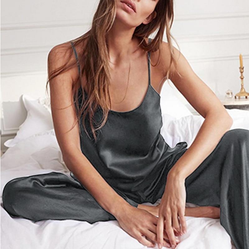 Pijama de encaje negro con espalda descubierta para mujer, ropa de dormir Sexy, conjunto de dos piezas