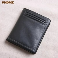 pndme genuine leather wallet mens short section tide personality youth soft first layer cowhide black credit card holder purse
