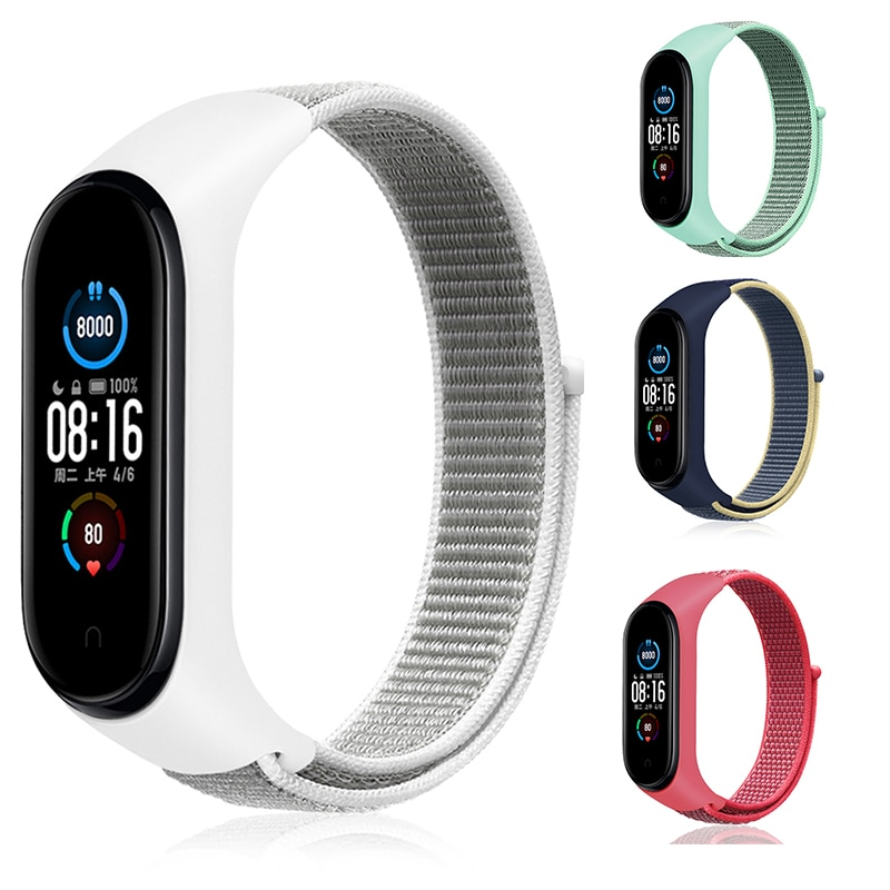 Nylon Strap for Xiaomi Mi band 6 4 3 5 Bracelet Wristband Sports Breathable Bracelet For Miband 6 5 4 3 Replacement Strap