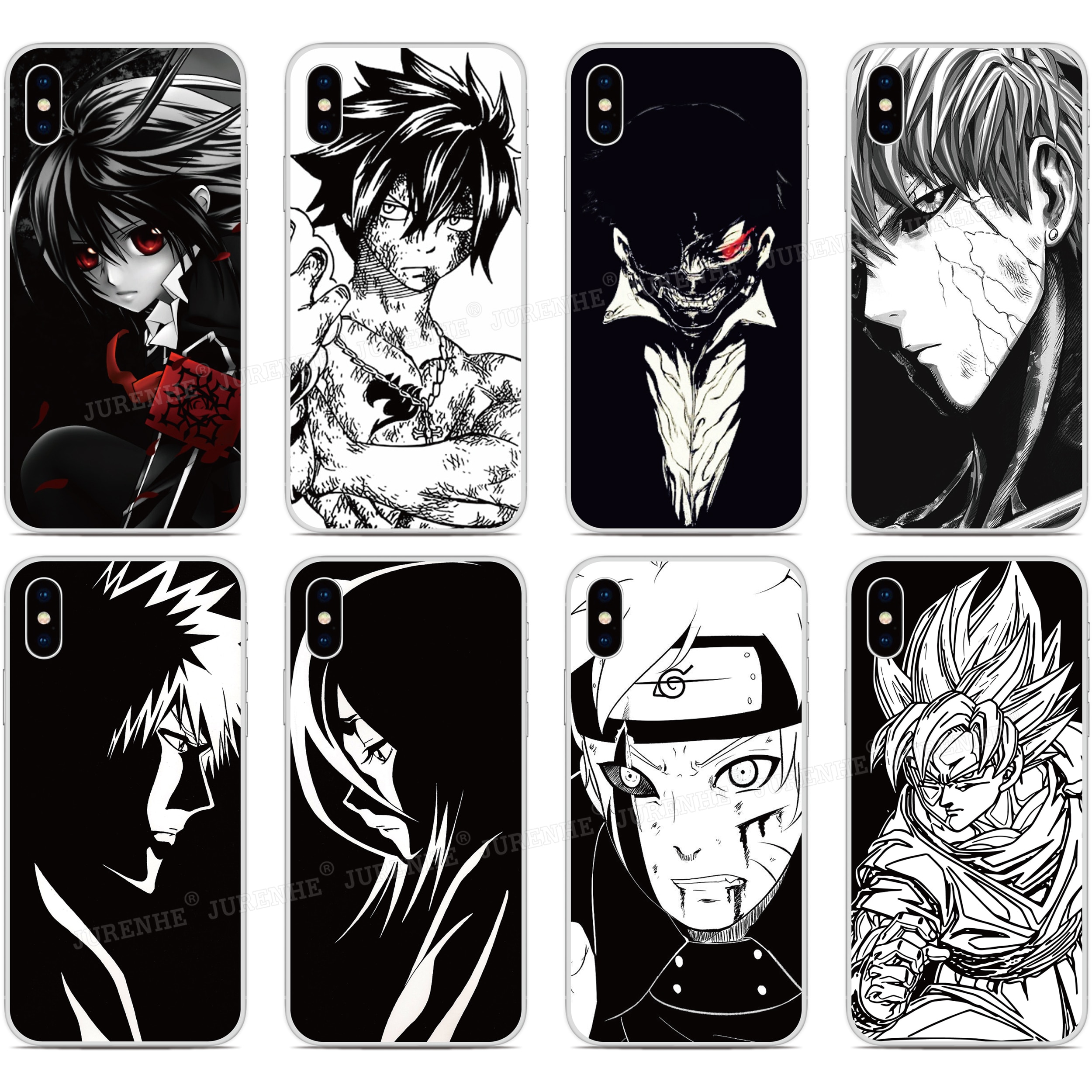 Schwarz Weiß Anime Weiche TPU Telefon Fall Für ZTE Blade A5 A7 2020 A3 L8 2019 Axon 10 Pro 5G V2020 V9 V10 Vita A7s 20 Smart Abdeckung