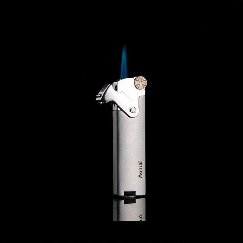 Encendedores de Metal encendedor de Gas portátil tira larga rueda de molienda encendedor de cigarrillos a prueba de viento encendedor de cigarros butano