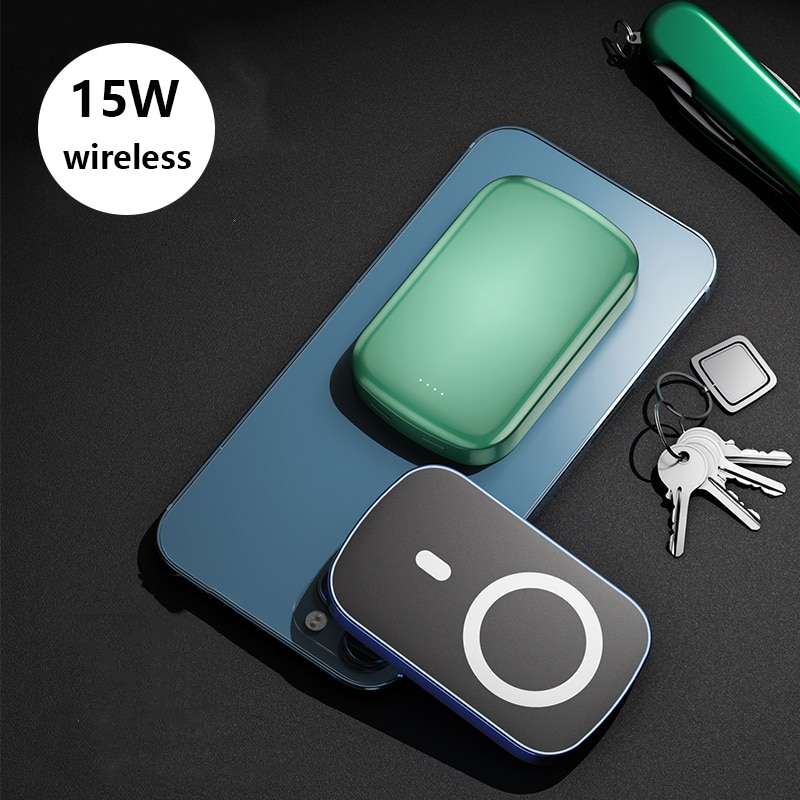 15W Magnetic Wireless Charger Power Bank for iPhone 12 10000mAh Powerbank PD USB C Quick Charge External Battery for Samsung S20