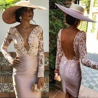 blush mother of the bride dresses for wedding v neck long sleeve women dress plus size cocktail gowns