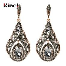 Kinel Fashion Antique Gold Big Drop Earrings For Women Bohemia Gray Crystal Flower Vintage Wedding Earrings Turkish Jewelry