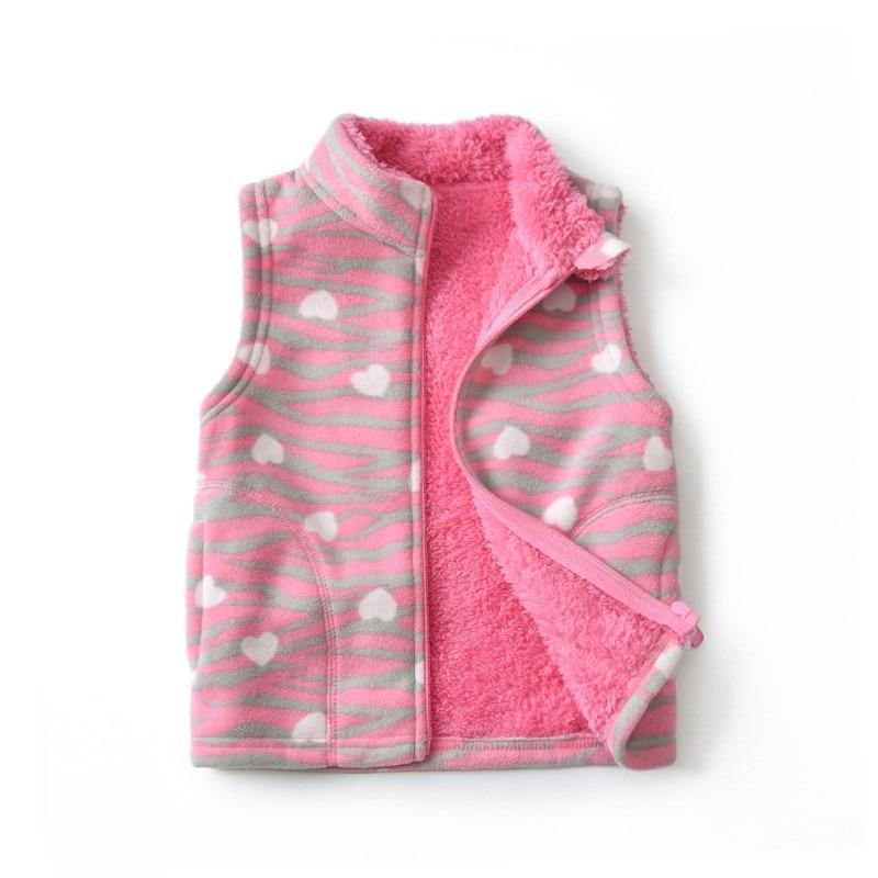 Polar Fleece Vest for Girls Autumn Winter High Collar Printed Waistcoats Baby Cotton Soft Sleeveless Jackets Children Clothing