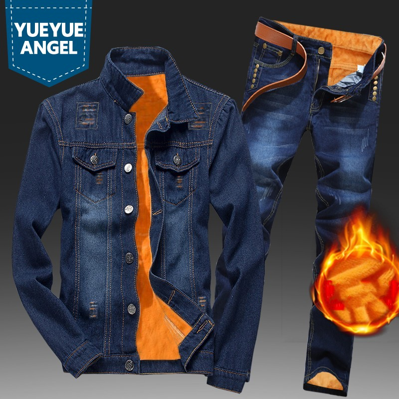 Winter Men Fleece Lining Thick Warm Denim Two Piece Set Slim Fit Cowbody Jacket Jeans Suit Safari Style Cargo Pants Matching Set