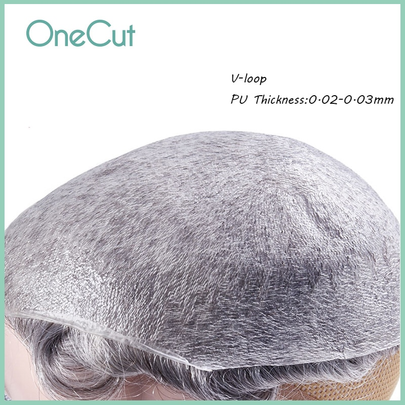 Men Toupee Super Thin Skin V-loop PU Base Hair Replacement System Unit Hairwigs for Hair Loss Men's Capillary Prothesis Peruk