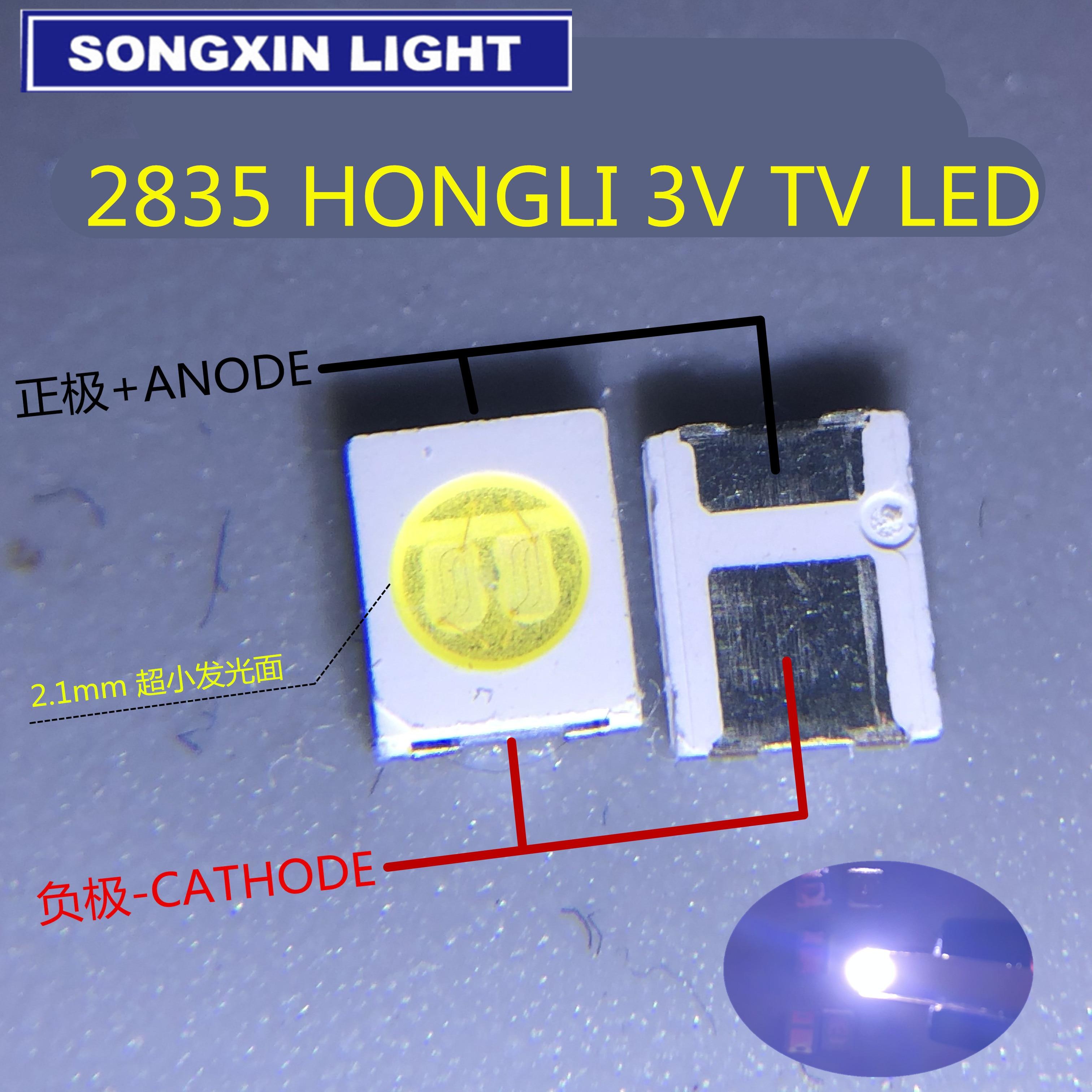 HONGLI TRONIC CHIPS DUPLO LED Backlight 1210 3528 2835 1W 3V 100LM Cool white Backlight LCD para TV aplicação de TV 200PCS