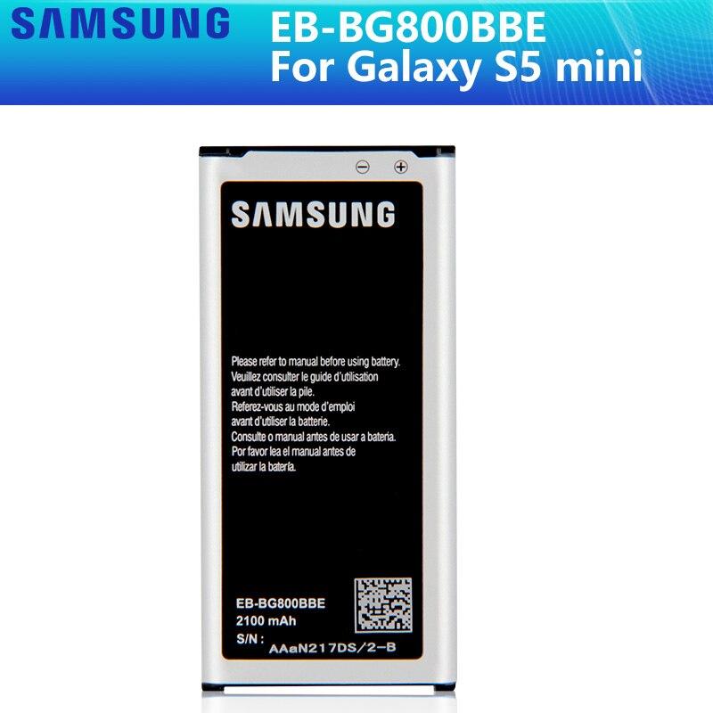 SAMSUNG batería Original EB-BG800CBE EB-BG800BBE para Samsung GALAXY S5 mini S5MINI SM-G800F G870a G870W EB-BG800BBE 2100mAh NFC